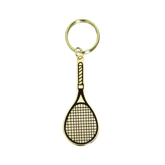 2.5 in Polished Brass Keychain - Tennis