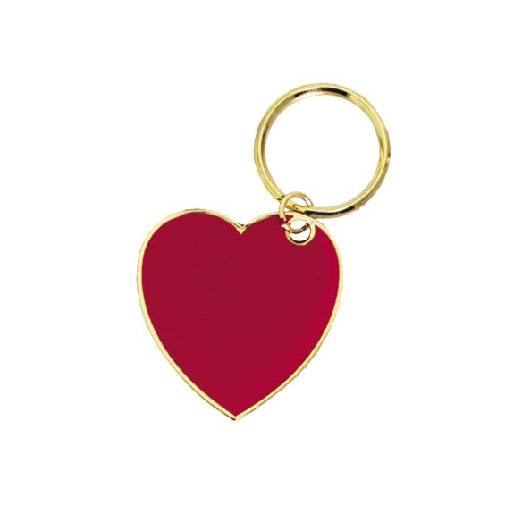"1.75"" Full Color Brass Keychain - Heart"