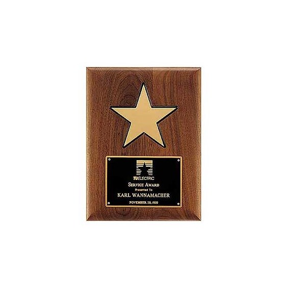 "9"" x 12"" Star Plaque w/ Solid Walnut Board"