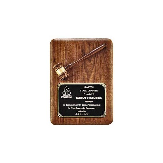 11 in x 15 in American Walnut Gavel Plaque