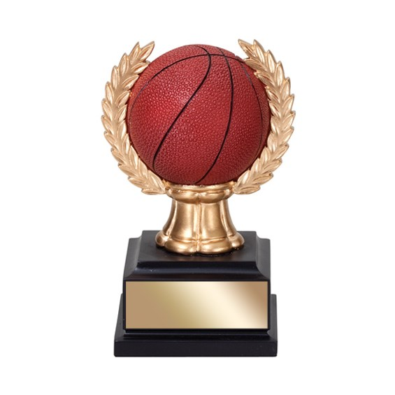 "6"" Basketball Trophy with wreath"
