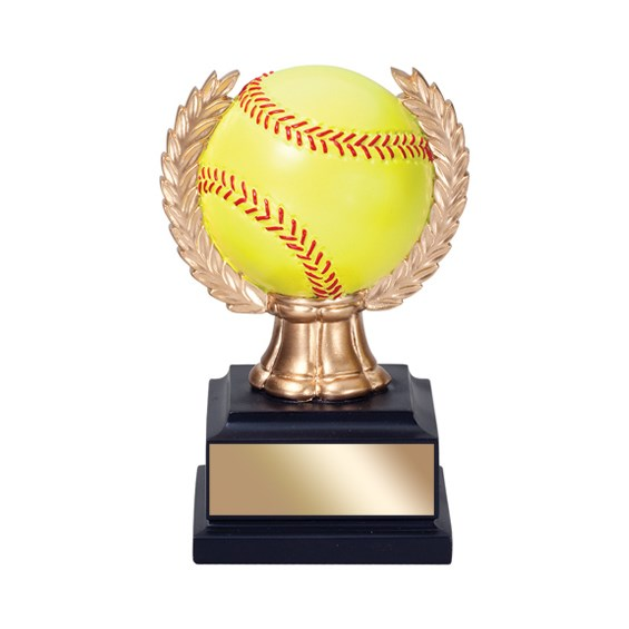 "6"" Softball Trophy with wreath"
