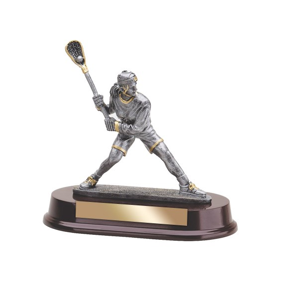 "8"" Female Resin Lacrosse Trophy with Wood Base"