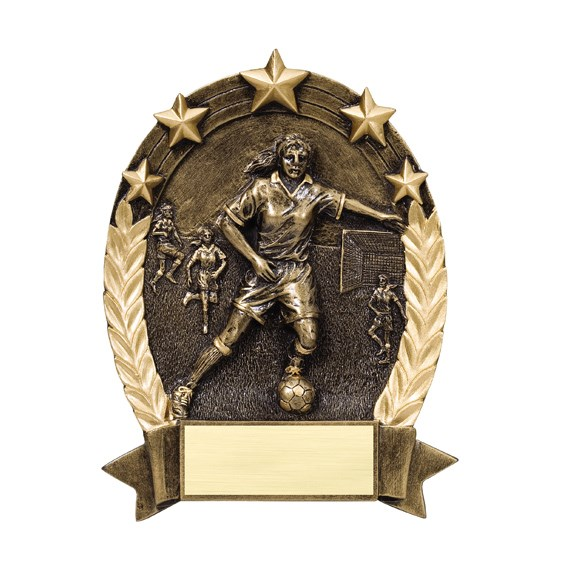 Female Soccer Star Resin Trophy
