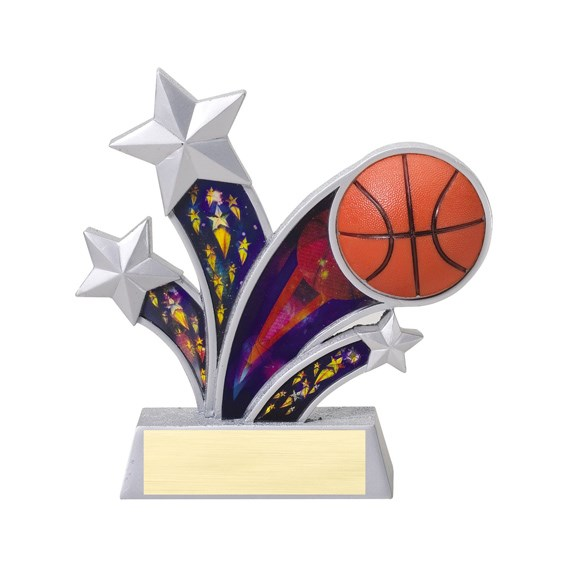 "6"" Rising Star Resin Basketball Trophy"