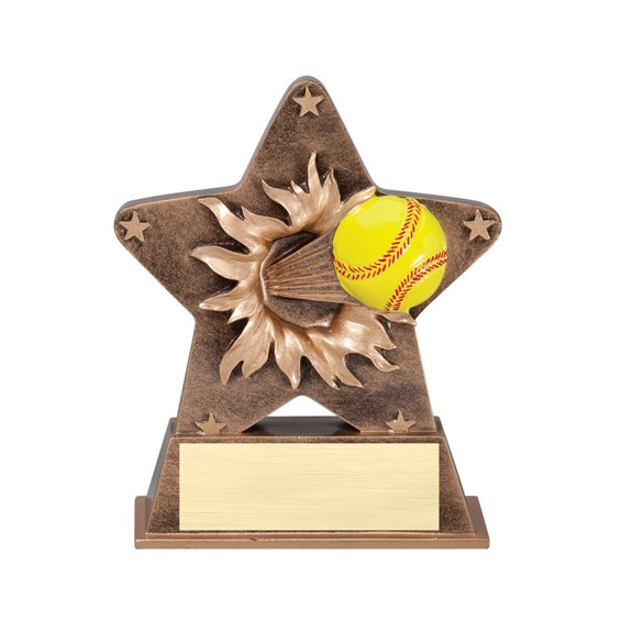 5 1/4 in Starburst Resin Softball Trophy