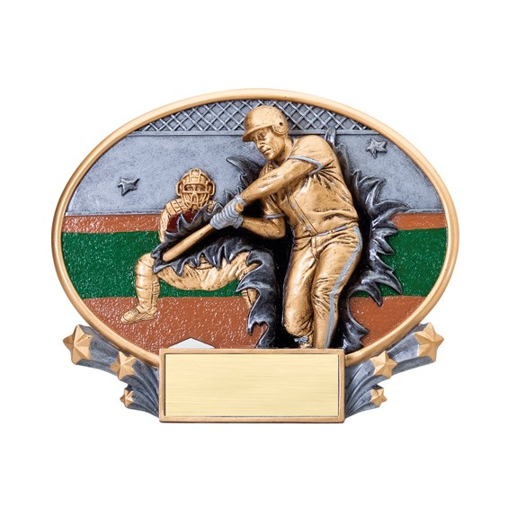"7 1/4"" x 6"" Xplosion Oval Baseball Resin Trophy"