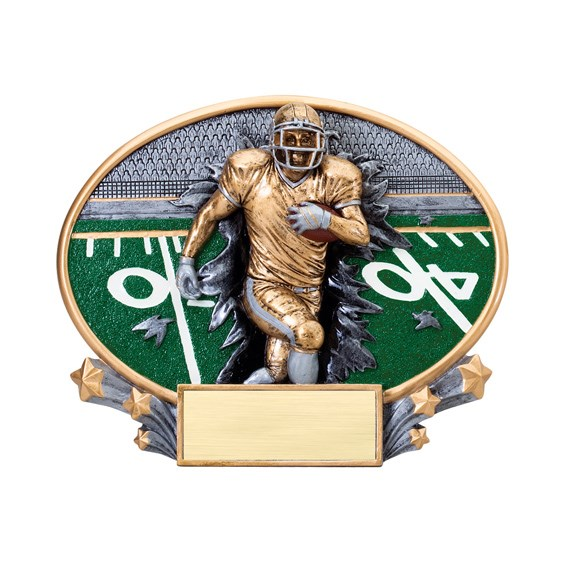 7 1/4 in x 6 in Xplosion Oval Football Resin Trophy
