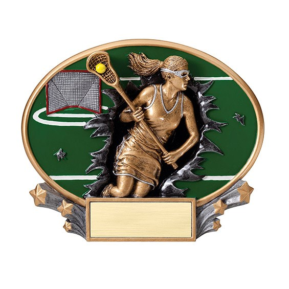 "7.25"" x 6"" 3D Xplosion Female Lacrosse Oval Resin Trophy"