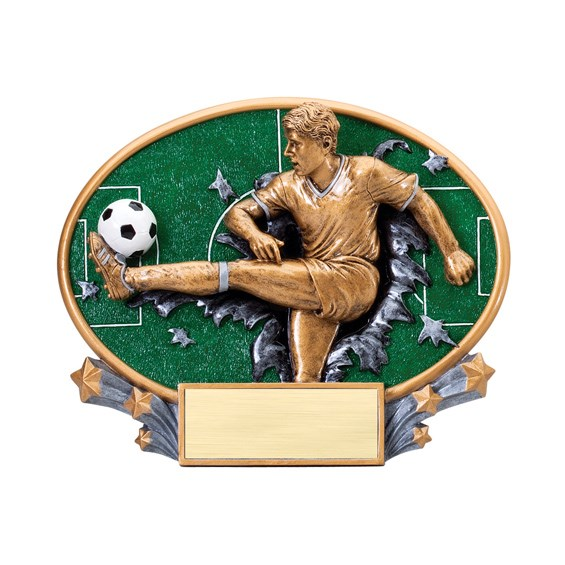 7 1/4 in x 6 in Xplosion Oval Male Soccer Resin Trophy