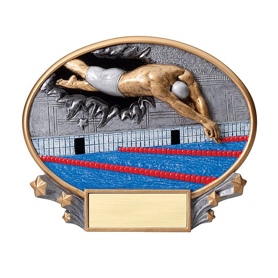 """7.25"""" x 6"""" 3D Xplosion Male Swimming Oval Resin Trophy"""