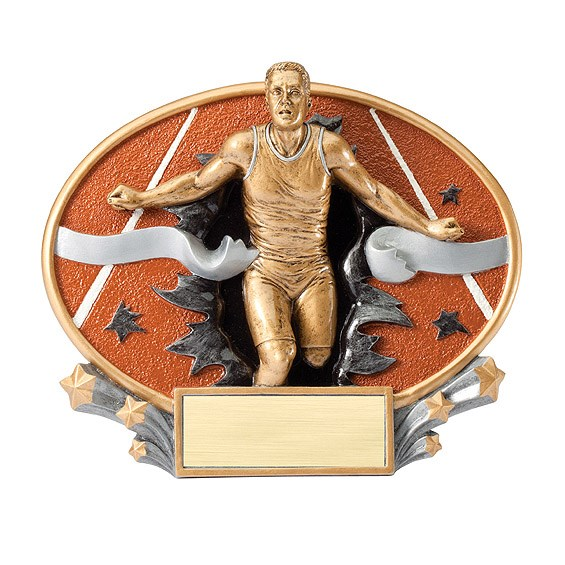 "7.25"" x 6"" 3D Xplosion Male Track Oval Resin Trophy"
