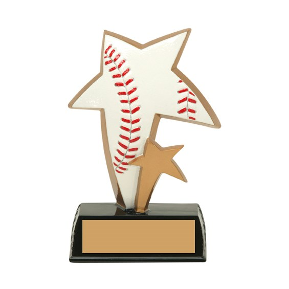 6 in Color Resin Sports Star Baseball Trophy
