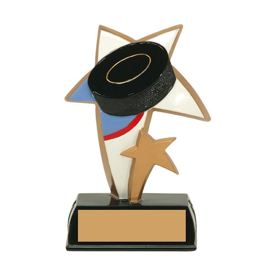 "6"" Color Resin Sports Star Hockey Trophy"