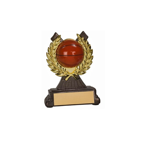 "4-1/2 "" Basketball Resin/Plastic Gold Wreath Trophy"