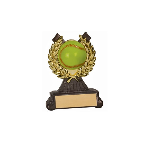 4-1/2 in Softball Resin/Plastic Gold Wreath Trophy