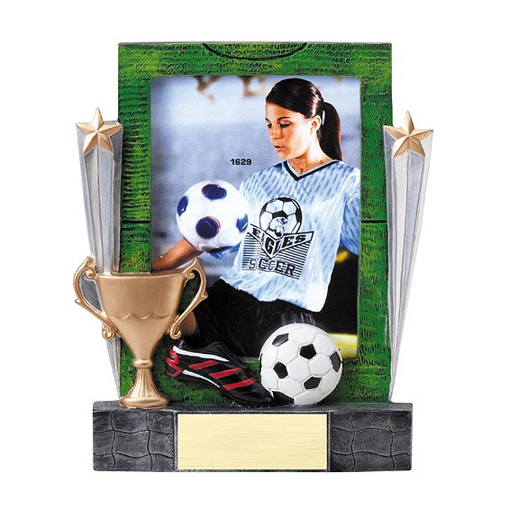 "7-1/4"" Soccer Resin Photo Frame"
