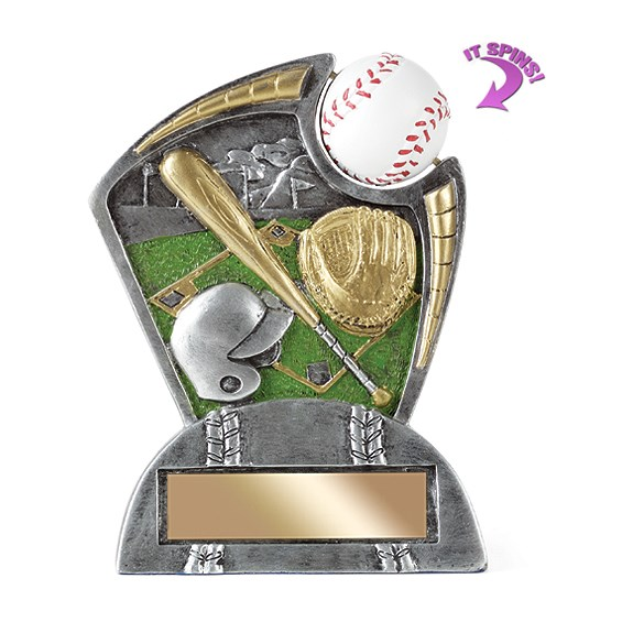 6 in Baseball Resin Trophy w/ Spinning Sports Ball