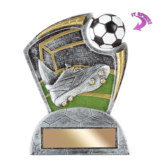 "6"" Soccer Resin Trophy w/ Spinning Sports Ball"