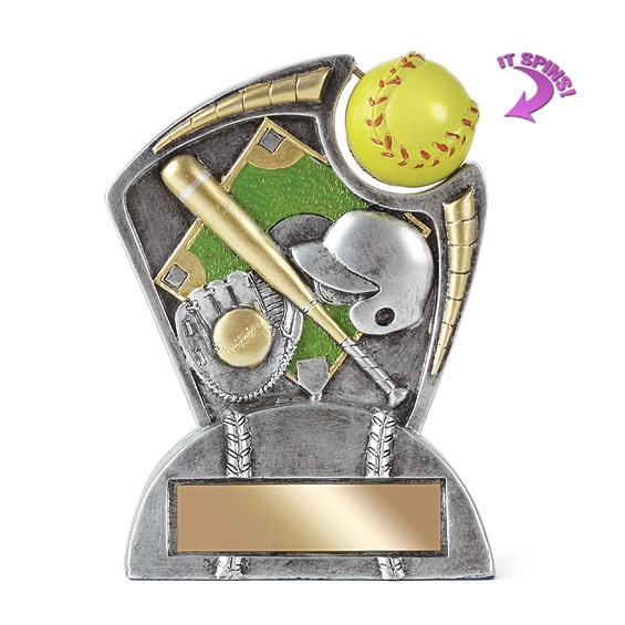 6 in Softball Resin Trophy w/ Spinning Sports Ball