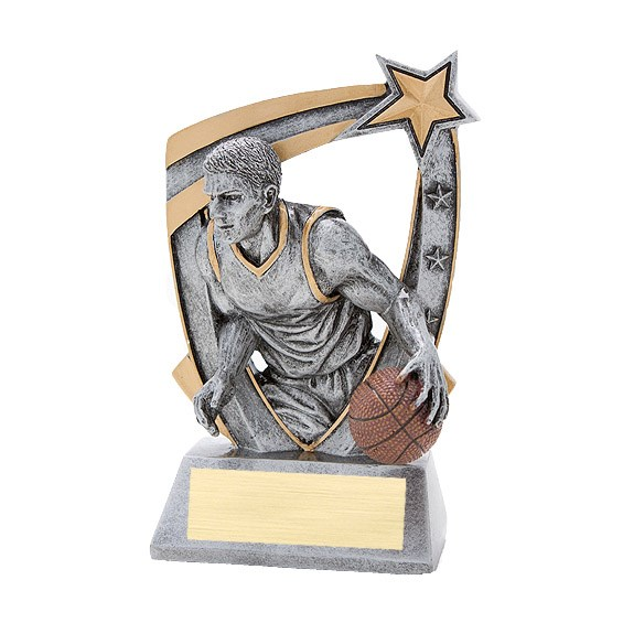 3-D Male Basketball Star Resin Trophy