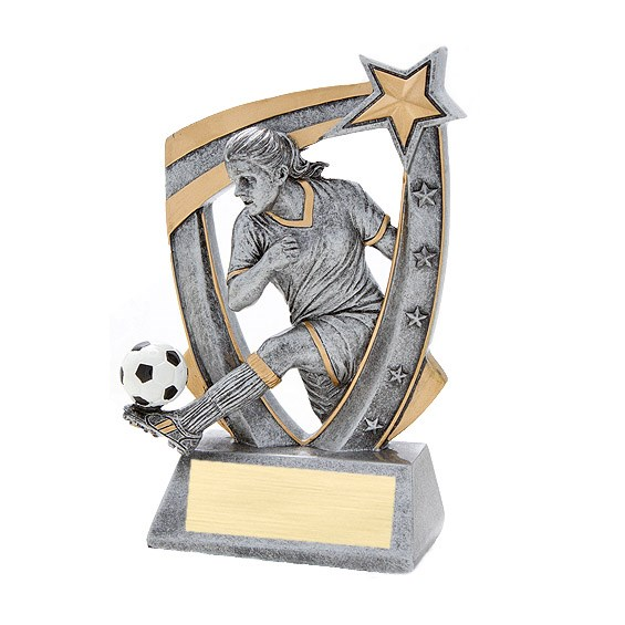 3-D Female Soccer Star Resin Trophy