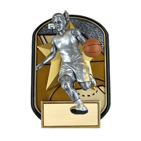 "6.5"" Rock n Jox Female Basketball Resin Trophy"