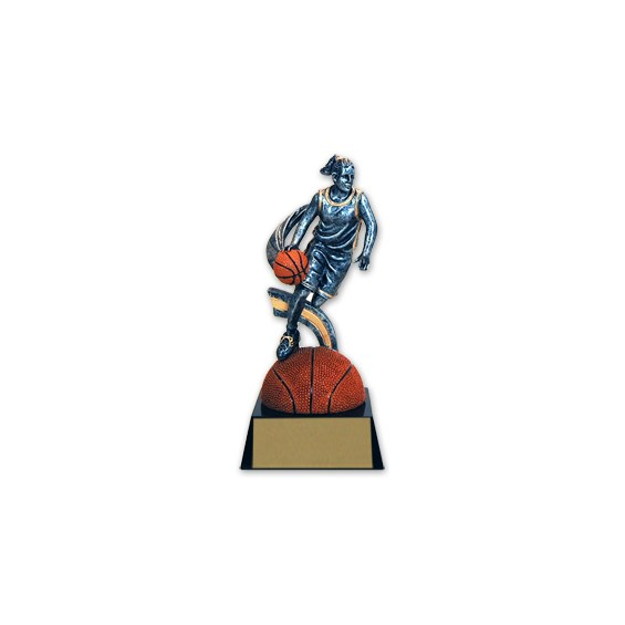 "7 1/4"" Female Basketball Extreme Action Resin Trophy"