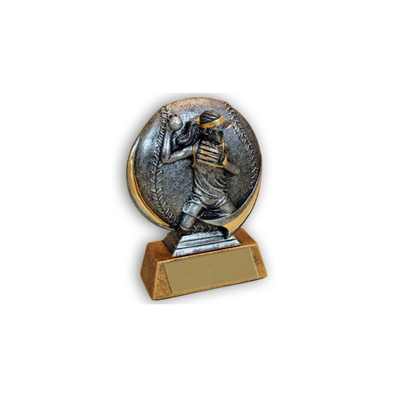 Female 5 in 3D Resin Softball Trophy