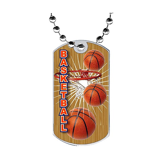 "2"" Basketball Dog Tag w/ Epoxy Dome Graphics"