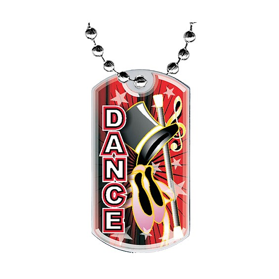"2"" Dance Dog Tag w/ Epoxy Dome Graphics"