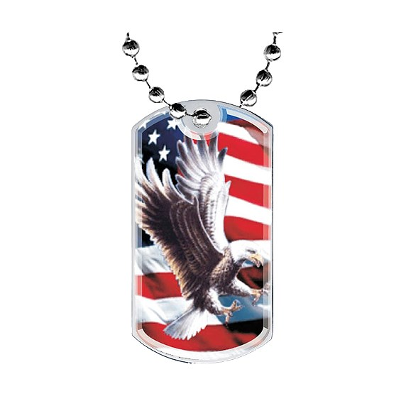 "2"" Eagle Dog Tag w/ Epoxy Dome Graphics"