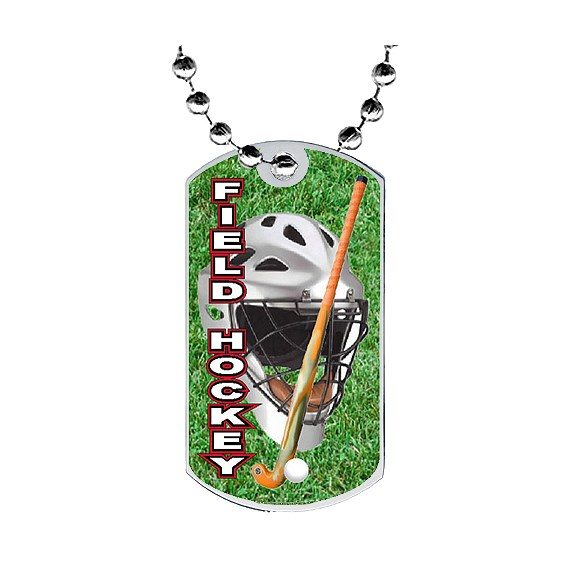"2"" Field Hockey Dog Tag w/ Epoxy Dome Graphics"