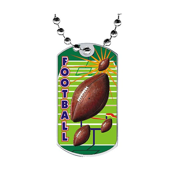 "2"" Football Dog Tag w/ Epoxy Dome Graphics"