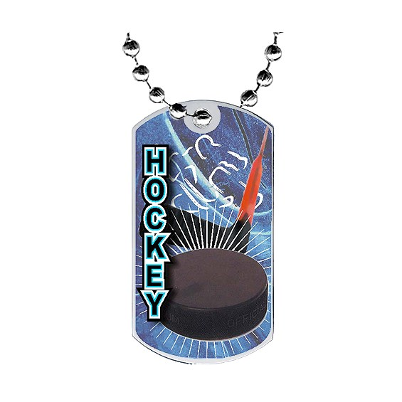"2"" Hockey Dog Tag w/ Epoxy Dome Graphics"