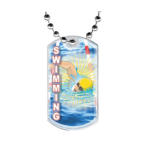 2 in Swimming Dog Tag w/ Epoxy Dome Graphics
