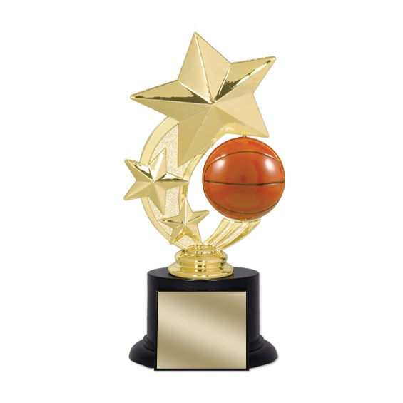 "7"" Basketball Trophy with Round Black Base"