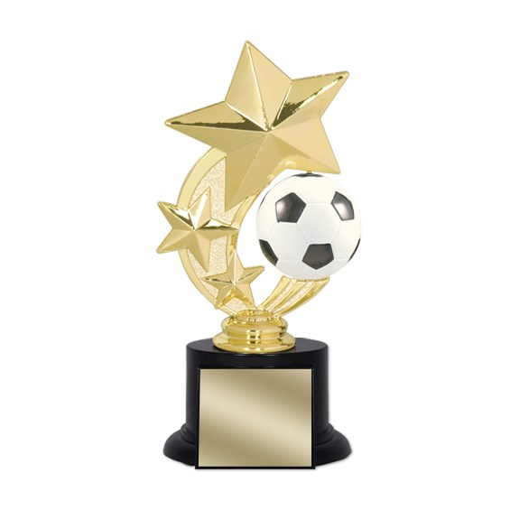 "7"" Soccer Trophy with Round Black Base"