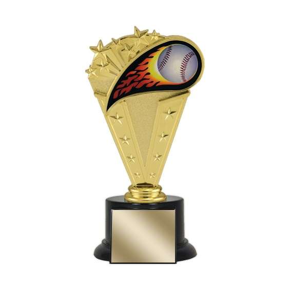 8 in Baseball Trophy with Round Black Base