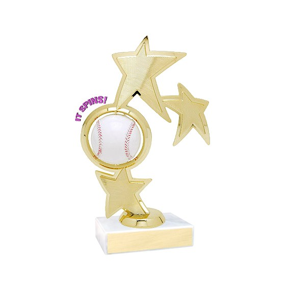 "8.75"" Spinning Baseball Theme Trophy"