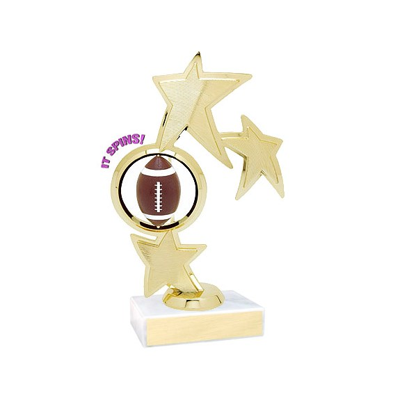 "8.75"" Spinning Football Theme Trophy"