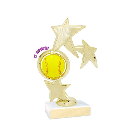 "8.75"" Spinning Softball Theme Trophy"