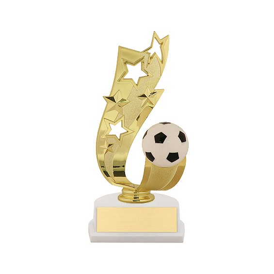 "7"" Offset Soccer Ribbon Trophy"