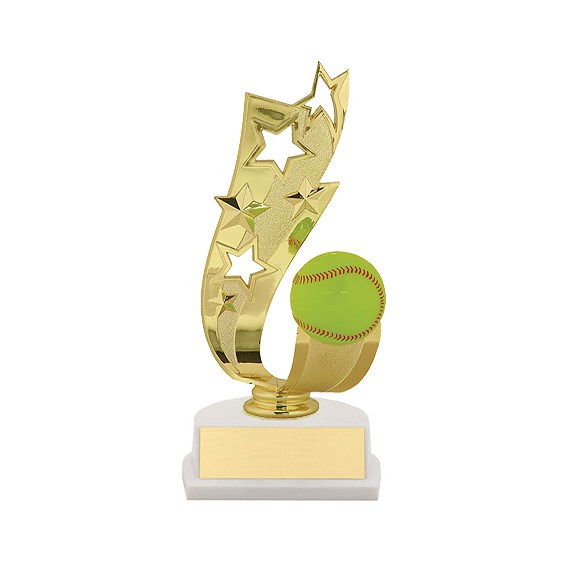 "7"" Offset Softball Ribbon Trophy"