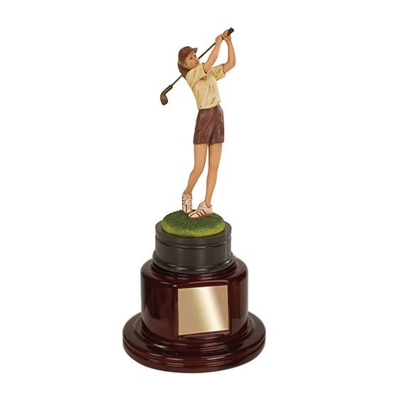 "13"" Female Golf Trophy w/ Piano Finished Base"