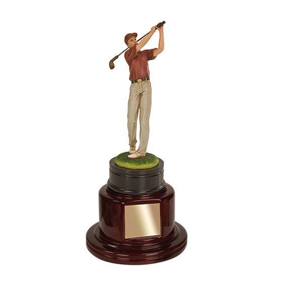 """13"""" Male Golf Trophy w/ Piano Finished Base"""