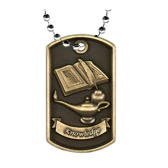 "2"" 3D Academic Dog Tag w/ 24"" Chain"