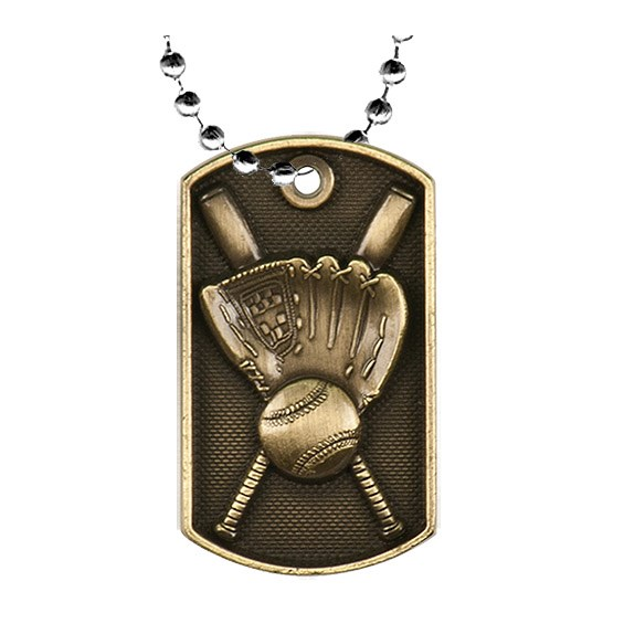 2 in 3D Baseball Dog Tag w/ 24 in Chain
