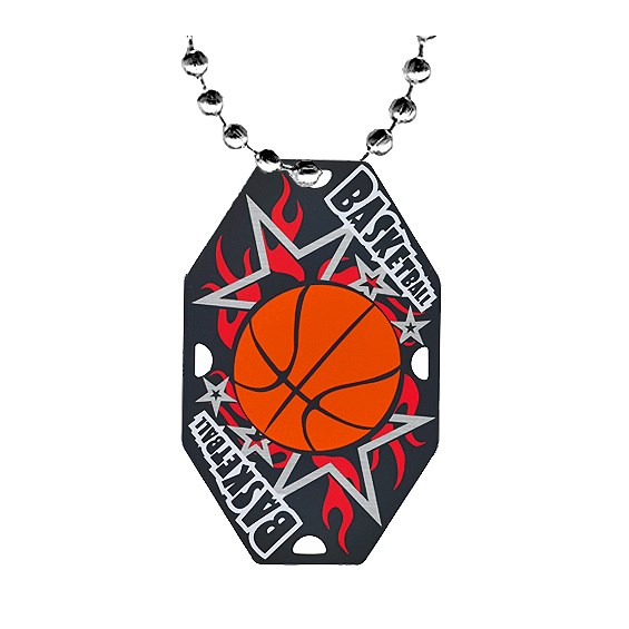 "2.5"" Basketball Dog Tag w/ Chain"