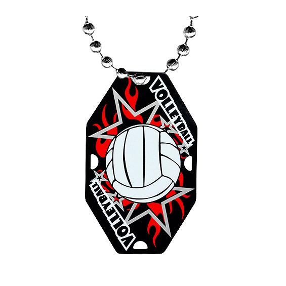 "2.5"" Volleyball Dog Tag w/ Chain"